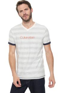 Camiseta Calvin Klein Listrada Off-White/Azul-Marinho
