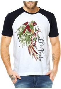 Camiseta Raglan Criativa Urbana El Falador Exótico - Masculino-Branco