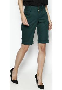 Bermuda Em Sarja Com Pespontos- Verde- Dress Todayênfase