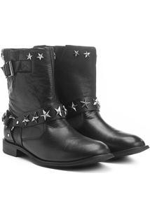 Bota Couro Biker Shoestock Estrelas Feminina - Feminino