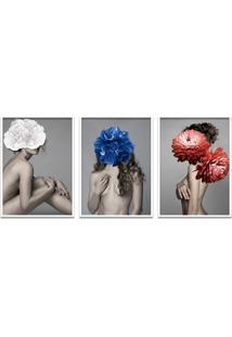 Quadro 60X120Cm Liv Mulher Com Flores Branca Zul E Vermelha Moldura Branca Com Vidro