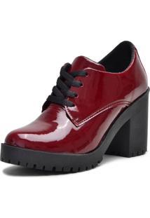 Botinha Ankle Boot Bota Salto Verniz Bordo 5201 - Tricae