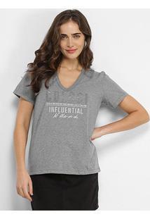 Camiseta Colcci Influential Aplicação Feminina - Feminino-Cinza Claro