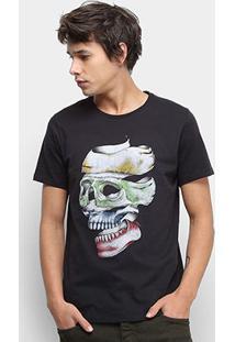 Camiseta Colcci Caveira Masculina - Masculino-Preto