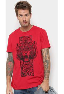 Camiseta Manga Curta Triton Estampada Tigre Masculina - Masculino-Vermelho