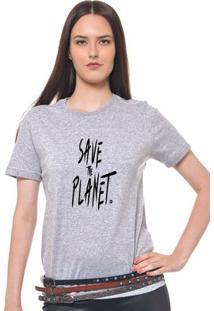 Camiseta Feminina Joss - Save The Planet Preto - Feminino-Mescla
