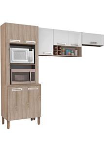 Cozinha Compacta Ametista 8 Portas Composição 4 Nogal/Branco - Kit'S P