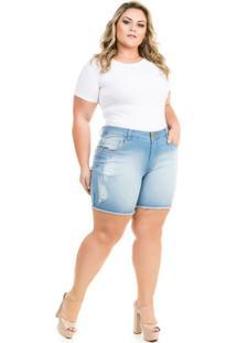 0682a4c067 ... Shorts Confidencial Extra Plus Size Jeans Com Elastano Feminino -  Feminino-Azul Claro