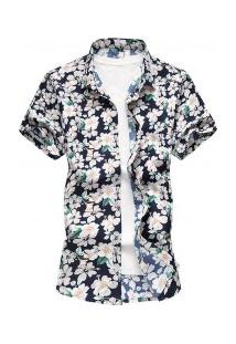 Camisa Masculina Design Florido - Verde