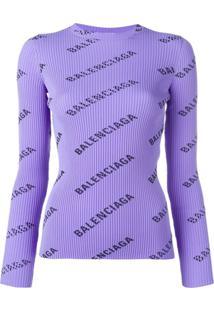 Balenciaga Suéter Canelado Com Logo - Roxo