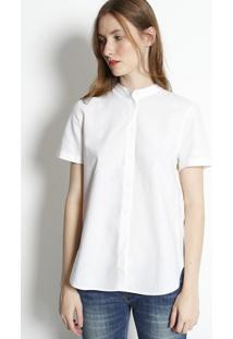 Camisa Em Linho Com Sobreposiã§Ã£O- Off White & Amarela