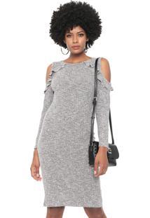 Vestido Facinelli By Mooncity Curto Off Shoulder Cinza