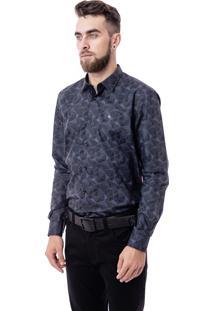 Camisa Luiz Eugenio Manga Longa Algodão Acetinado Comfort Azul