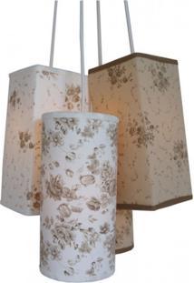 Lustre Pendente Floral Crie Casa Bege, Marrom E Branco