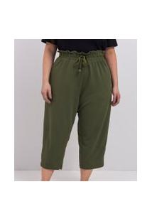 Calça Pantacourt Lisa Em Crepe Comfy Curve & Plus Size   Ashua Curve E Plus Size   Verde   Eg