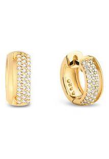 Argola Ouro Amarelo E Diamantes 10 Mm