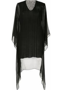 Masnada Blusa Com Recortes Translúcidos E Drapeado - Preto