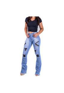 Calça Jeans Flare Rasgada Cos Alto Mania Do Jeans