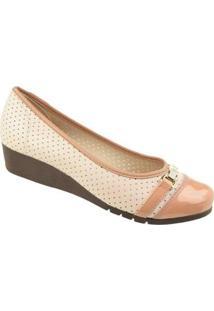 Sapato Conforto Moleca Turim Feminino - Feminino-Bege