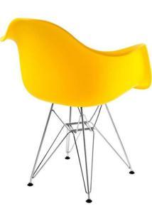 Cadeira Com Braços E Pés Cromados Flórida Siena Móveis Amarelo