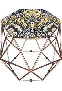 Puff D'Rossi Decorativo Aramado Geométrico Hexágono D77 Base Cobre