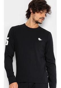 Camiseta Rg 518 Básica Manga Longa Com Bordado Masculina - Masculino-Preto