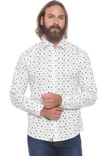 Camisa Triton Reta Estampada Branca