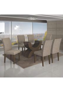 Conjunto Sala De Jantar Mesa Tampo De Vidro 180Cm E 6 Cadeiras Olímpia Leifer Ypê/Veludo Caramelo