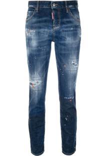 Dsquared2 Calça Jeans Reta Com Efeito Destroyed - Azul