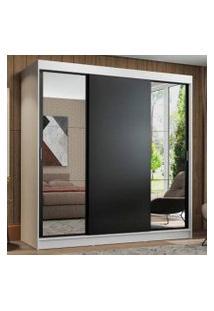 Guarda-Roupa Casal Madesa Reno 3 Portas De Correr Com Espelhos Branco/Preto Cor:Branco/Preto