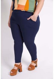 Calça Kaue Plus Size Social De Malha Feminina - Feminino-Azul Petróleo