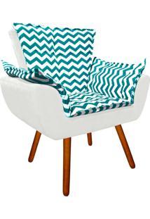 Poltrona Decorativa Opala Suede Composê Estampado Zig Zag Verde Tiffany D78 E Suede Branco - D'Rossi