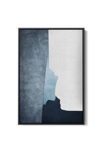 Quadro 90X60Cm Abstrato Textura Ireki Moldura Flutuante Filete Preta