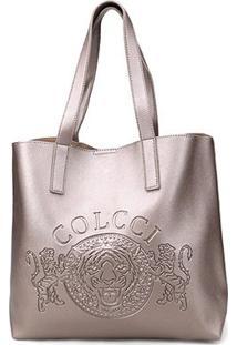 Bolsa Colcci Shopper Brasão Feminina - Feminino-Prata
