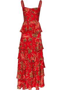 Johanna Ortiz Vestido Longo De Algodão Com Estampa Floral Life Goals - Vermelho
