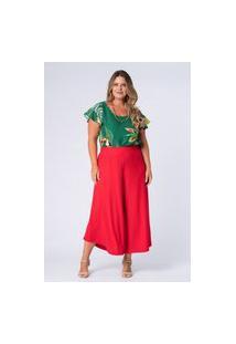 Calça Lisa Canelada Plus Size Vermelho