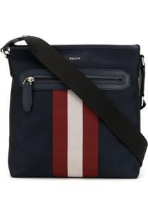 Bally Striped Print Messenger Bag - Azul