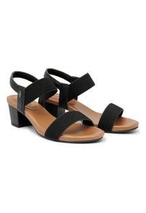 Sandália Usaflex Feminina Elástico Salto Bloco Confortável Preto 36 Preto