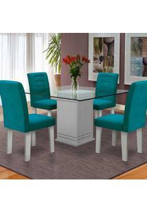 Conjunto De Mesa Para Sala De Jantar C/ Tampo De Vidro E 4 Cadeiras Vegas - Dobuê - Branco / Turquesa
