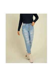 Calça Jeans Destroyed Cigarrete Feminina Razon