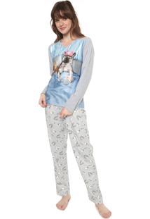 Pijama Pzama Estampado Cinza/Off-White