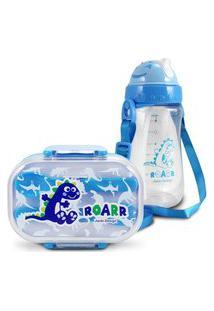Conjunto Pote Para Lanche E Squeeze Infantil Dinossauro 2 Menino Jacki Design Azul