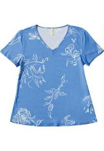 Blusa Decote V Com Estampa Floral Azul