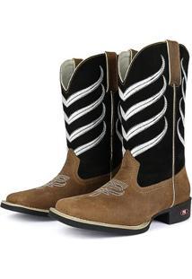 Bota Couro Texana Sapatofran Bico Quadrado Masculina - Masculino-Marrom