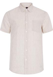 Camisa Masculina Cotton Linen Thin Stripes - Bege