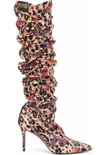 Versace Jeans Couture Bota Com Estampa De Leopardo E Franzida - Marrom