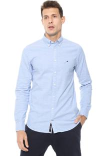 Camisa Tommy Hilfiger Slim Core Stretch Ox Azul