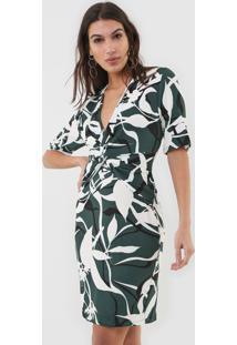 Vestido Forum Curto Canelado Verde/Branco - Verde - Feminino - Viscose - Dafiti