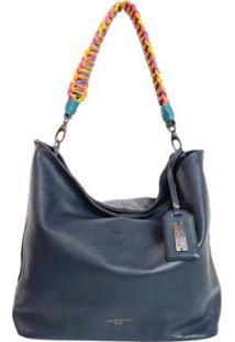 Bolsa Handbag Couro House Of Caju Alça Ombro Feminina - Feminino-Azul Escuro