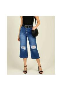 Calça Pantacourt Jeans Destroyed Feminina Marisa
